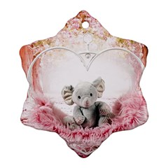 Elephant Heart Plush Vertical Toy Snowflake Ornament (2 Side) by Amaryn4rt