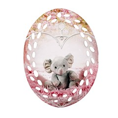 Elephant Heart Plush Vertical Toy Oval Filigree Ornament (2 Side)  by Amaryn4rt