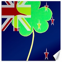 Irishshamrock New Zealand Ireland Funny St Patrick Flag Canvas 16  X 16   by yoursparklingshop