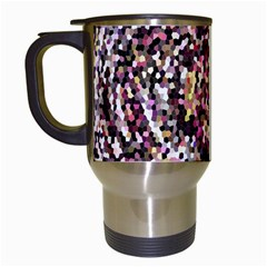 Mosaic Colorful Abstract Circular Travel Mugs (white) by Amaryn4rt