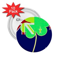 Irish Shamrock New Zealand Ireland Funny St Patrick Flag 2 25  Buttons (10 Pack)  by yoursparklingshop