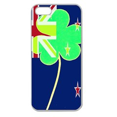 Irish Shamrock New Zealand Ireland Funny St Patrick Flag Apple Seamless Iphone 5 Case (clear) by yoursparklingshop