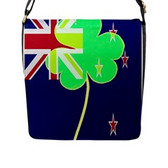 Irish Shamrock New Zealand Ireland Funny St Patrick Flag Flap Messenger Bag (l)  by yoursparklingshop