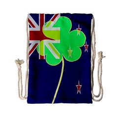 Irish Shamrock New Zealand Ireland Funny St Patrick Flag Drawstring Bag (small) by yoursparklingshop