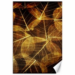 Leaves Autumn Texture Brown Canvas 12  X 18   by Amaryn4rt
