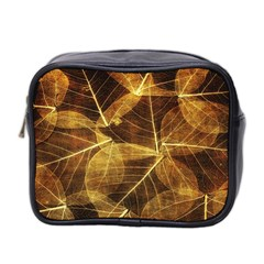 Leaves Autumn Texture Brown Mini Toiletries Bag 2 Side by Amaryn4rt
