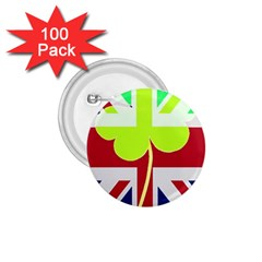 Irish British Shamrock United Kingdom Ireland Funny St  Patrick Flag 1 75  Buttons (100 Pack)