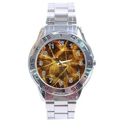 Leaves Autumn Texture Brown Stainless Steel Analogue Watch by Amaryn4rt