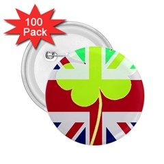 Irish British Shamrock United Kingdom Ireland Funny St  Patrick Flag 2 25  Buttons (100 Pack)