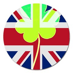 Irish British Shamrock United Kingdom Ireland Funny St  Patrick Flag Magnet 5  (round) by yoursparklingshop