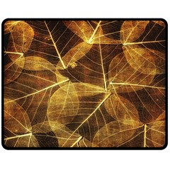 Leaves Autumn Texture Brown Double Sided Fleece Blanket (medium)  by Amaryn4rt