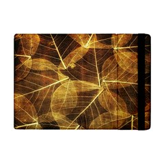 Leaves Autumn Texture Brown Ipad Mini 2 Flip Cases by Amaryn4rt