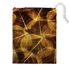 Leaves Autumn Texture Brown Drawstring Pouches (xxl) by Amaryn4rt