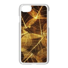 Leaves Autumn Texture Brown Apple Iphone 7 Seamless Case (white) by Amaryn4rt