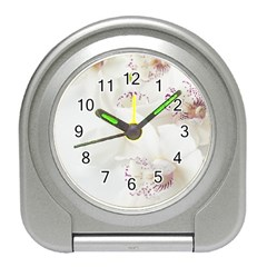 Orchids Flowers White Background Travel Alarm Clocks