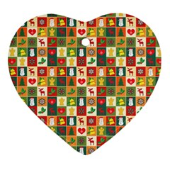 Pattern Christmas Patterns Ornament (heart)  by Amaryn4rt