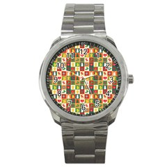Pattern Christmas Patterns Sport Metal Watch by Amaryn4rt