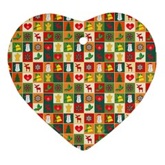 Pattern Christmas Patterns Heart Ornament (2 Sides) by Amaryn4rt