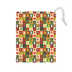 Pattern Christmas Patterns Drawstring Pouches (large)  by Amaryn4rt