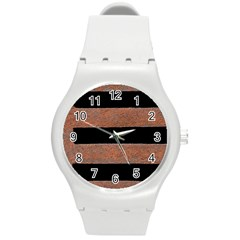 Stainless Rust Texture Background Round Plastic Sport Watch (m) by Amaryn4rt