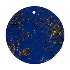 Poplar Foliage Yellow Sky Blue Ornament (round)  by Amaryn4rt