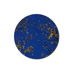 Poplar Foliage Yellow Sky Blue Rubber Round Coaster (4 Pack)  by Amaryn4rt