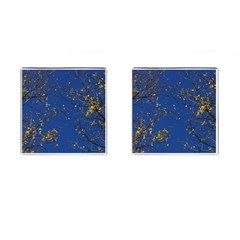 Poplar Foliage Yellow Sky Blue Cufflinks (square) by Amaryn4rt