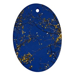 Poplar Foliage Yellow Sky Blue Oval Ornament (two Sides) by Amaryn4rt
