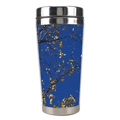 Poplar Foliage Yellow Sky Blue Stainless Steel Travel Tumblers by Amaryn4rt