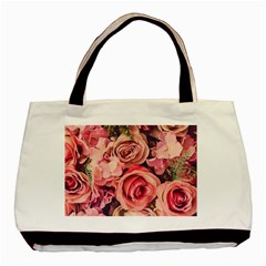 Beautiful Pink Roses Basic Tote Bag by Brittlevirginclothing