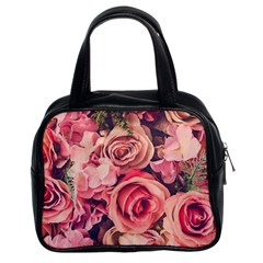 Beautiful Pink Roses Classic Handbags (2 Sides) by Brittlevirginclothing