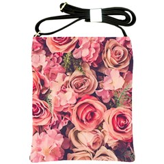 Beautiful Pink Roses Shoulder Sling Bags by Brittlevirginclothing