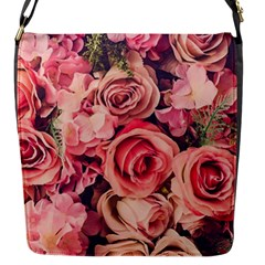 Beautiful Pink Roses Flap Messenger Bag (s) by Brittlevirginclothing