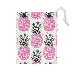 Lovely Pink Pineapple  Drawstring Pouches (large)  by Brittlevirginclothing