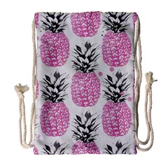 Lovely Pink Pineapple  Drawstring Bag (large) by Brittlevirginclothing