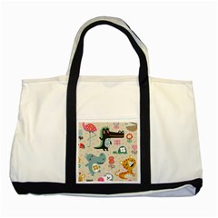 Lovely Cartoon Animals Two Tone Tote Bag by Brittlevirginclothing