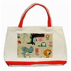 Lovely Cartoon Animals Classic Tote Bag (red) by Brittlevirginclothing