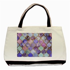 Blue Toned Moroccan Mosaic  Basic Tote Bag by Brittlevirginclothing