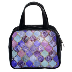 Blue Toned Moroccan Mosaic  Classic Handbags (2 Sides) by Brittlevirginclothing