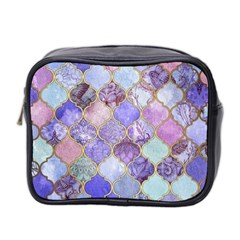 Blue Toned Moroccan Mosaic  Mini Toiletries Bag 2 Side by Brittlevirginclothing