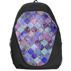 Blue Toned Moroccan Mosaic  Backpack Bag by Brittlevirginclothing