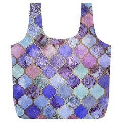 Blue Toned Moroccan Mosaic  Full Print Recycle Bags (l)  by Brittlevirginclothing
