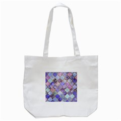 Blue Toned Moroccan Mosaic  Tote Bag (white) by Brittlevirginclothing