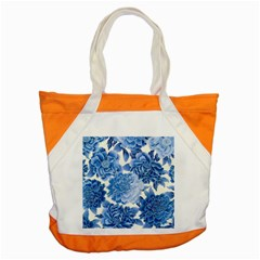 Blue Toned Flowers Accent Tote Bag by Brittlevirginclothing