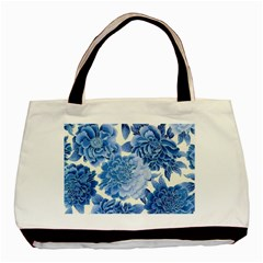 Blue Toned Flowers Basic Tote Bag (two Sides) by Brittlevirginclothing