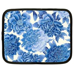 Blue Toned Flowers Netbook Case (large) by Brittlevirginclothing