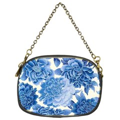 Blue Toned Flowers Chain Purses (one Side)  by Brittlevirginclothing