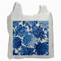 Blue Toned Flowers Recycle Bag (one Side)