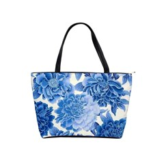 Blue Toned Flowers Shoulder Handbags by Brittlevirginclothing