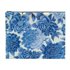 Blue Toned Flowers Cosmetic Bag (xl) by Brittlevirginclothing